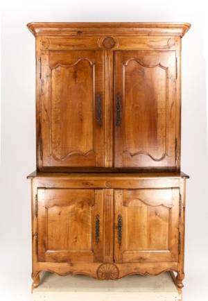 French Provincial Walnut Buffet a Deux Corps