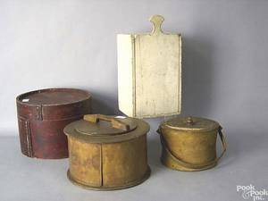 Four pcs of woodenware to include 2 stencil decorated bentwood boxes
