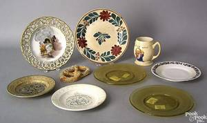 Nine pcs of porcelain and glass to include 2 transfer decorated ABC plates