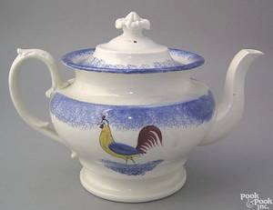 Blue spatter teapot
