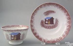 Red spatter handleless cup and saucer