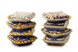 2 Majolica Stacked Cushion Garden Seats