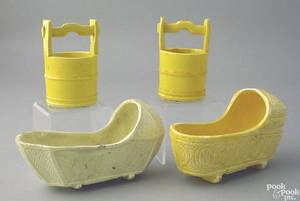 Pair of canary type miniature cradles 19th c
