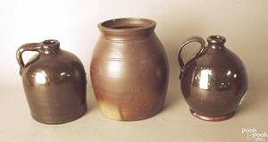 Two small redware jugs