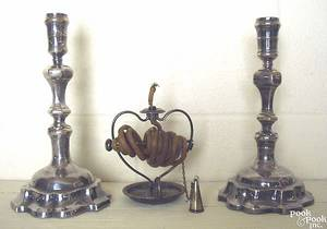 Pair of German silver plated candlesticks