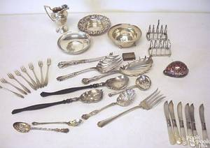 Group of silver table articles and flatware to include Tiffany  Co pierced bowl