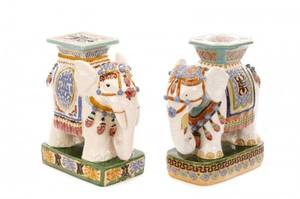 Group Of 2 Ceramic Majolica Elephant Garden Seats