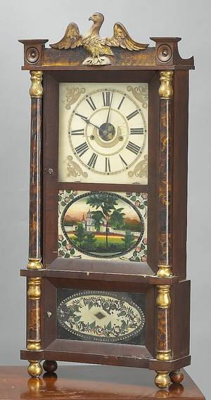 Connecticut late Federal mahogany mantle clock mid 19th c