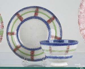 Red blue and green rainbow spatter plaid cup and saucer