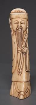 Carved Ox Bone Figure of an Elder