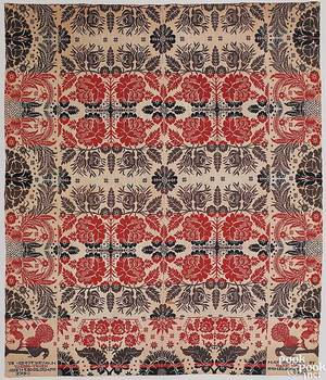 Pennsylvania red navy blue green and white jacquard coverlet by Henry Oberly
