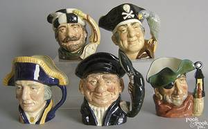 Five Royal Doulton toby mugs to include Smuggler Long