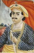 Watercolor on ivory miniature portrait of the Rajah of Benares