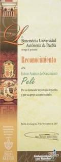 PEL NOVEMBER 29 2007 PUEBLA UNIVERSITY CERTIFICATE OF RECOGNITION