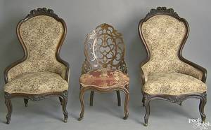 Pair of Victorian walnut slipper chairs