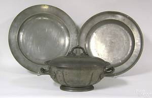 Two English pewter chargers 19th c