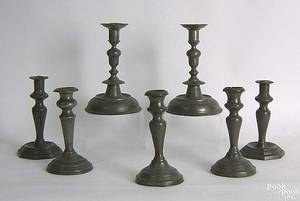 Pair of English pewter candlesticks early 19th c