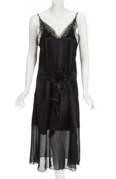 LADY GAGA ZOE GREENING SILK SLIP DRESS