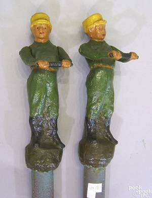 Pair of cast iron hitching posts 19th c