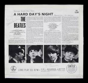 BEATLES SIGNED A HARD DAYS NIGHT ALBUM COVER
