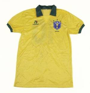 PEL OCTOBER 30 1990 50TH BIRTHDAY GAME BRAZIL TEAM SIGNED JERSEY