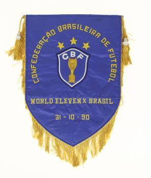 PEL OCTOBER 31 1990 50TH BIRTHDAY GAME BRAZIL CBF PENNANT