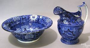 Blue Staffordshire pitcher and bowl