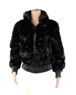 Ladies Reversible Black Mink  Leather Jacket