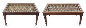 A Pair of Regency Style Mahogany and Brass Inset Low Tables