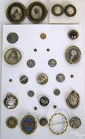 Four miniature portraits in lockets and broaches
