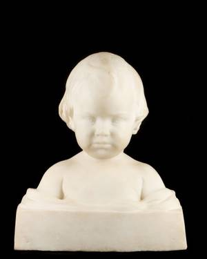 Carved Marble Sculptural Bust of Child Salvatore