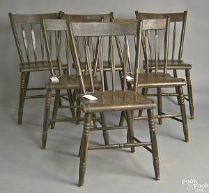 Set of 6 painted plank seat dining chairs