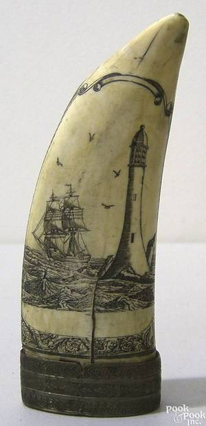 Silver mounted scrimshaw whales tooth late 19th c